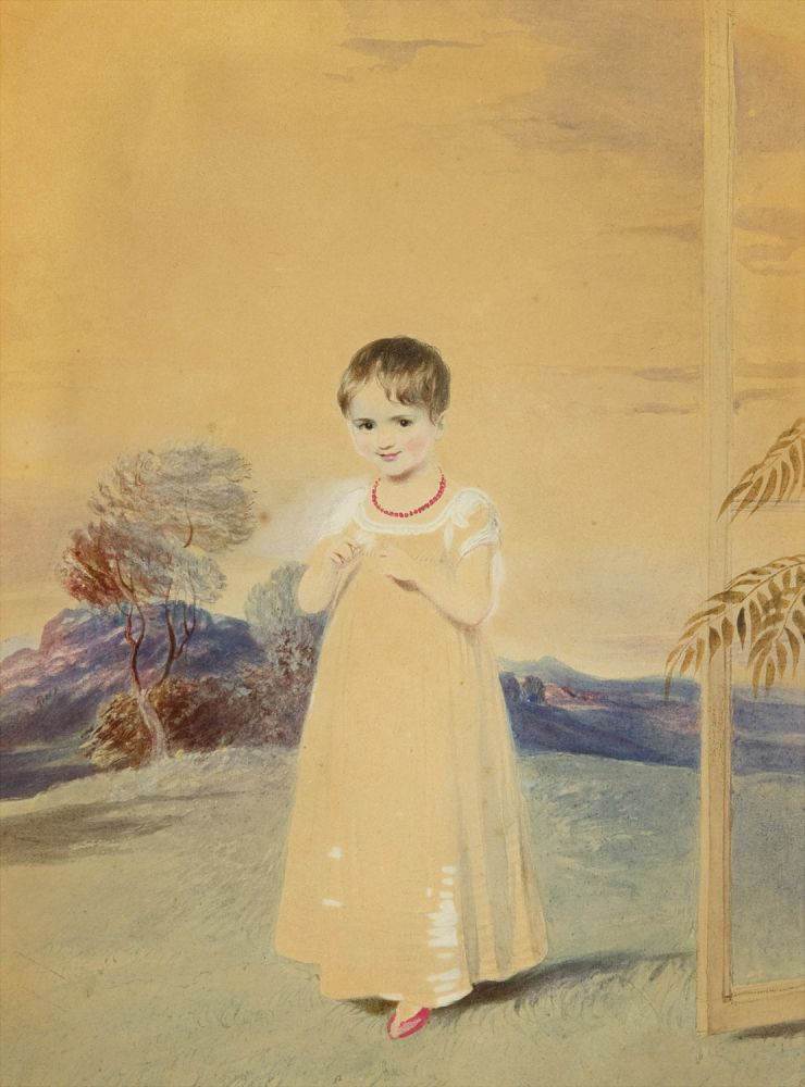 Two Portraits: Boy with Hoop and Young Girl in a Landscape. Adam Buck, Irish.