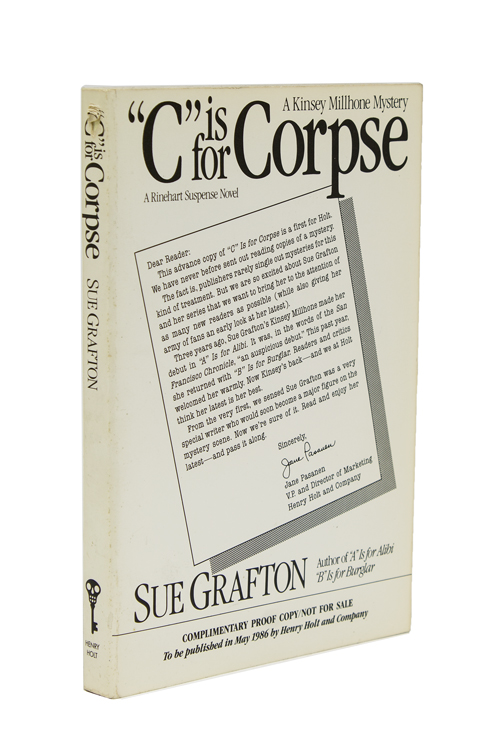 """""""C"""" is for Corpse. A Kinsey Millhone Mystery. Sue Grafton."""