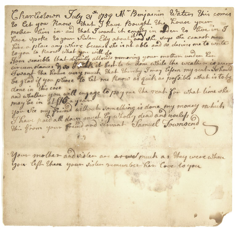 "Autograph Letter, Signed ""Samuel Townsend,"" to Benjamin Waters of Salem. Charlestown Massachusetts."