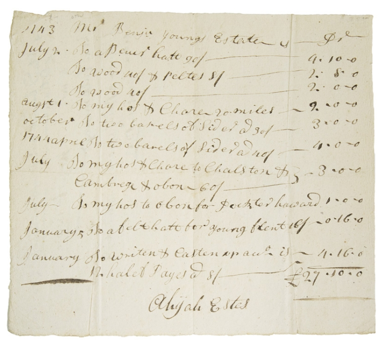 Demands for Payment Against the Estate of Benjamin Young. Massachusetts.