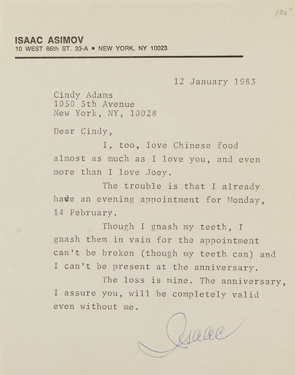 """Typed letter signed """"(Isaac""""), to columnist Cindy Adams. Isaac Asimov."""
