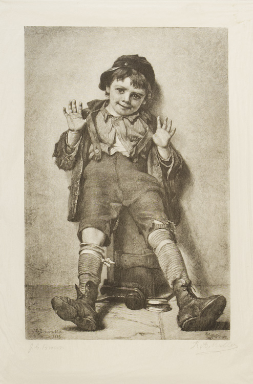 """""""I'm Perfectly Happy."""" a little shoeshine boy with his hands up. Engraving by R.A. Mueller after J.G. Brown. SIGNED BY BOTH. J. G. Brown."""