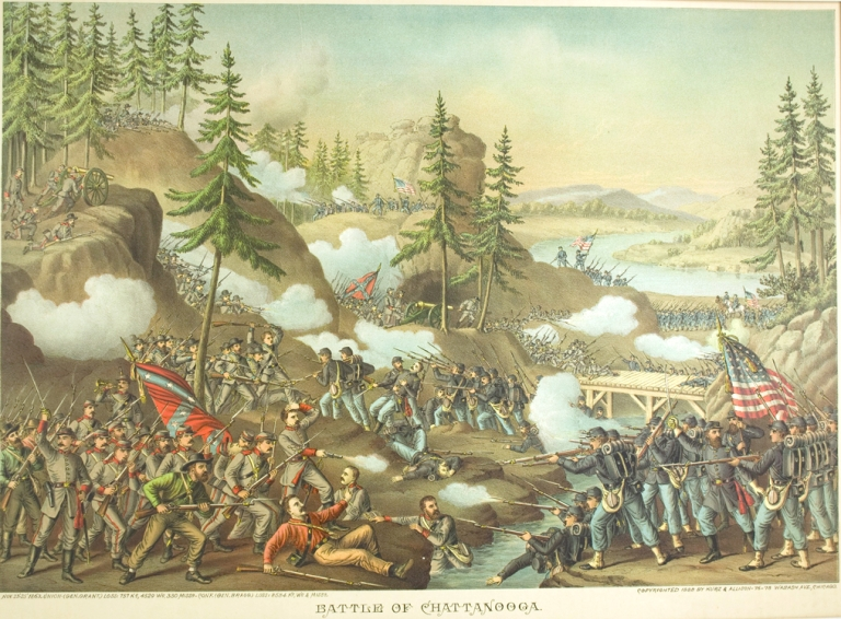 Battle of Chattanooga. [Chromolithographic print]. Civil War.