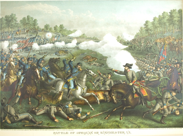 Battle of Opequan or Winchester, Va. Sept. 19th 1864. [Chromolithographic print]. Civil War, Kurz.