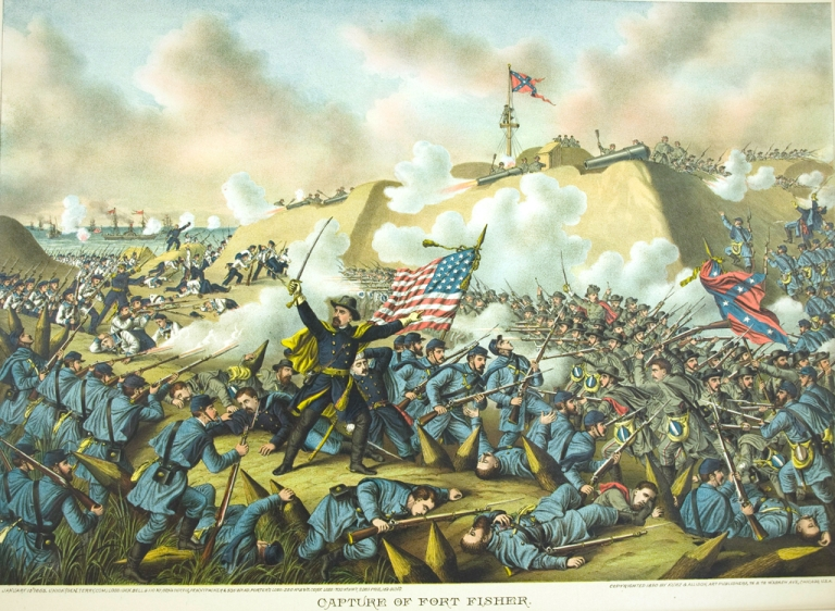 Capture of Fort Fisher. January 15 1865. [Chromolithographic print]. Civil War, Kurz.