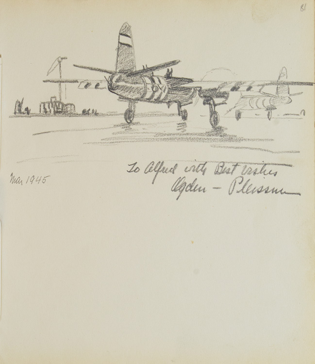 Pencil Sketch of two airplanes on a landing field. Ogden Pleissner.