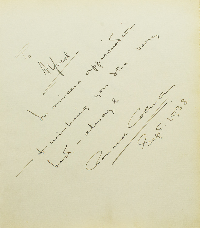 Autograph Note Signed to photographer Alfred Eisenstaedt, n.p., September 1938 [with, on verso:] DURBAN, Deanna, Autograph Note Signed to Eisenstaedt, n.p., October 1938. Ronald Colman.