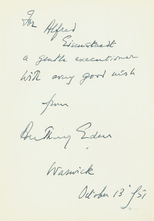 Autograph Note Signed to Alfred Eisenstaedt, Warwick. October 13 1951. Anthony Eden.