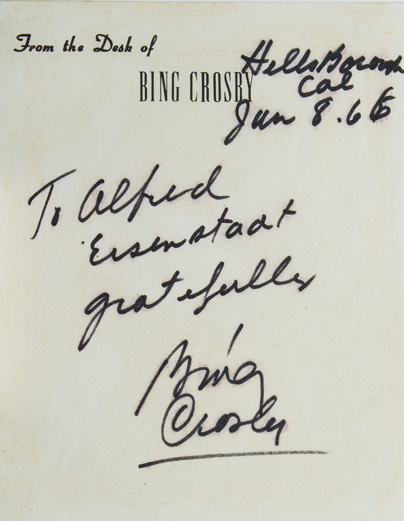 Autograph Inscription Signed to Alfred Eisenstaedt on Crosby's memo paper, Hillsborough, CA June 1966. Bing Crosby.