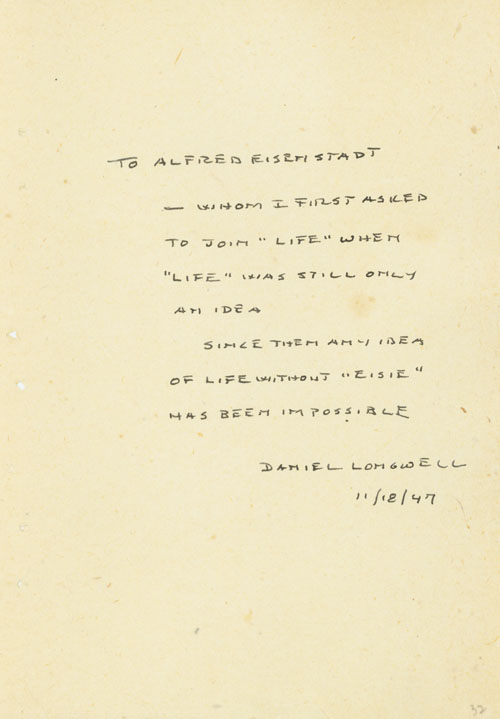 Autograph Note Signed to Alfred Eisenstaedt, n.p., November 1947. Time/Life, Daniel Longwell.