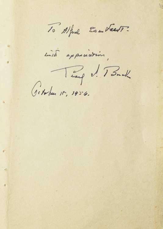 Autograph Note Signed to Alfred Eisenstaedt, October 18, 1956. Pearl S. Buck.