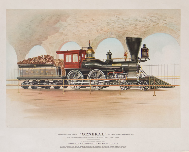 """The Famous War Engine 'General' of the Western & Atlantic R.R. Now on Permanent Exhibition in Union Depot, Chattanooga, Tenn."". Civil War / Railroad."