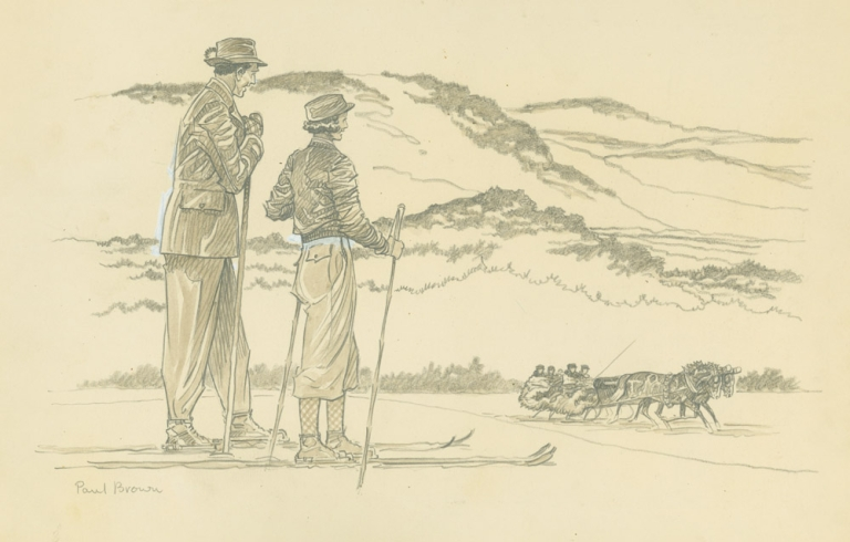 Drawing of Man and Woman skiing in foreground, with horse-drawn sleigh in background. Paul Brown.