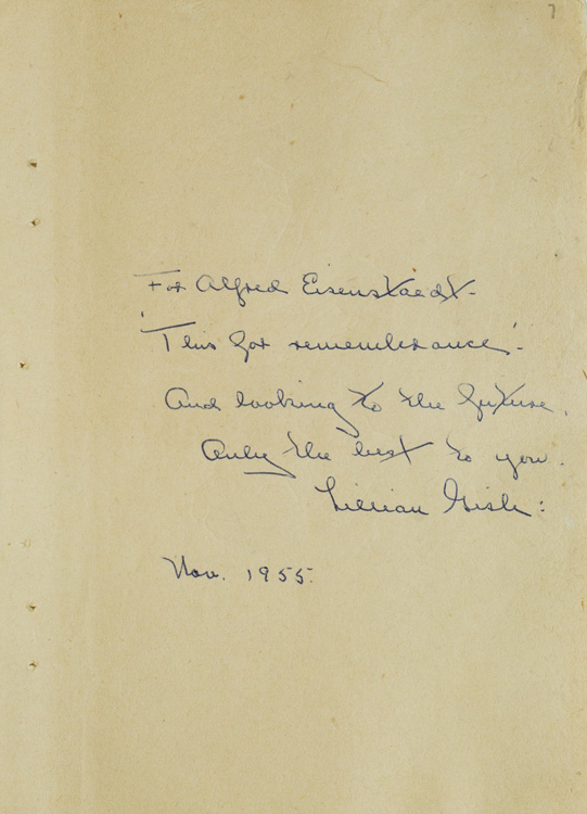 Autograph Note signed, to Alfred Eisenstaedt. Lillian Gish.