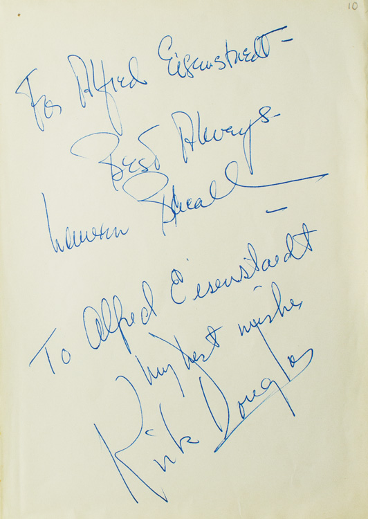 "Autograph Inscriptions Signed (""Best Always, Lauren Bacall"" and ""to Alfred Eisenstaed / my best wishes/ Kirk Douglas"") to LIFE photographer ALFRED EISENSTAEDT. Lauren Bacall, Kirk DOUGLAS."