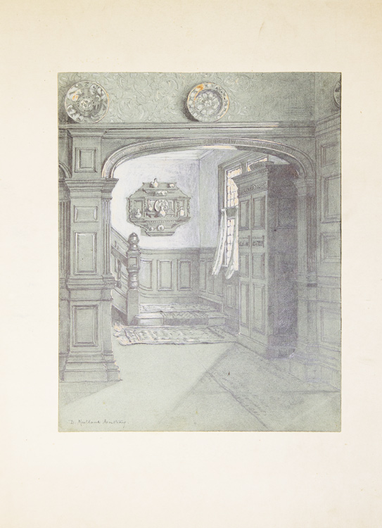 Original drawing of a spacious domestic panelled hallway, stairwell and sunlit window. Maitland Armstrong, avid.