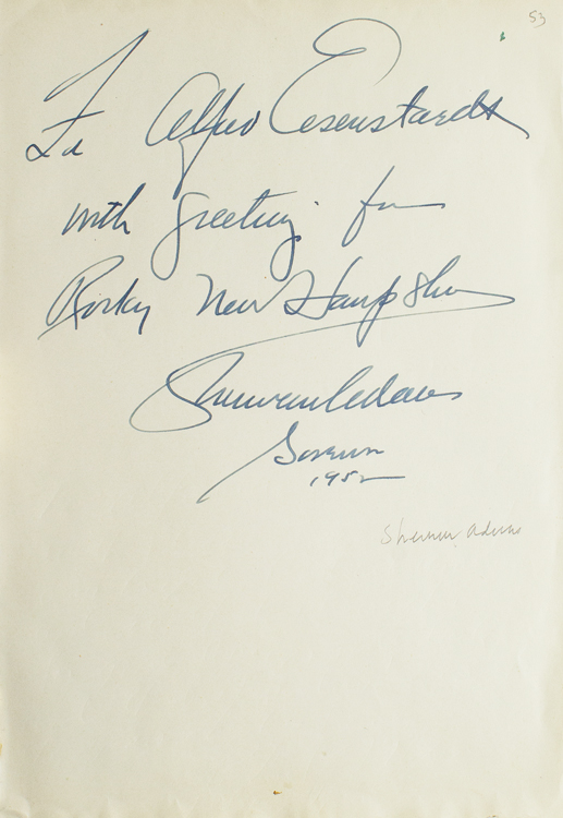 "Autograph Note Signed to LIFE photographer ALFRED EISENSTAEDT, ""For Alfred Eisenstaedt with greeting from Rocky New Hampshire, Sherman Adams, ---, 1952. Sherman Adams."