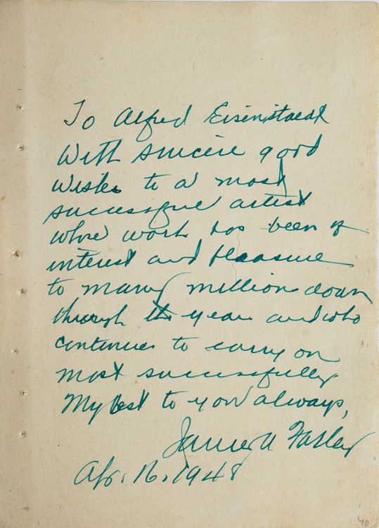 """Autograph Note Signed by the actor to LIFE photographer ALFRED EISENSTAEDT, """"To Alfred Eisenstaedt, With sincere good Wishes to a most successful artist whose work has been of interest and pleasure to many millions down through the years and who continues to carry on most successfully, James A. Farley."""" James Farley."""