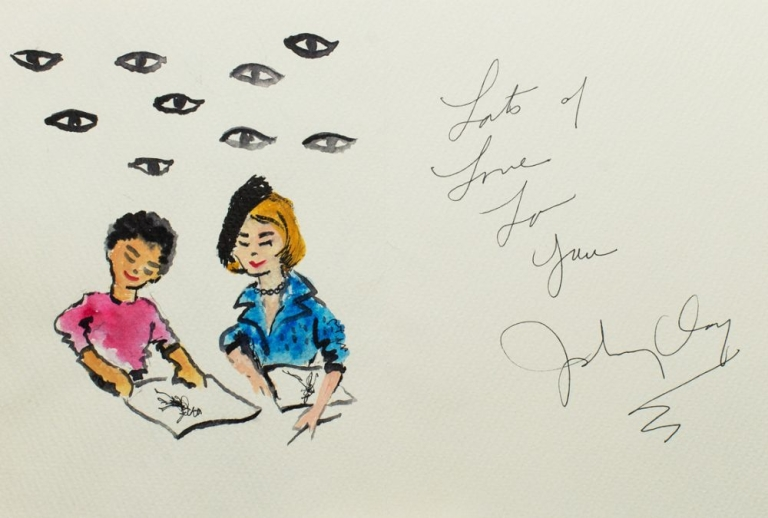 Original watercolor greeting card to Carrie Donovan, signed and inscribed by fashion artist John Clay. John Clay.