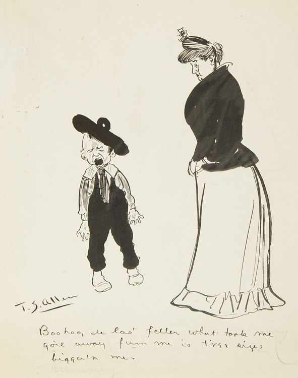 Cartoon drawing of mother and small boy bawling. T. S. Allen.