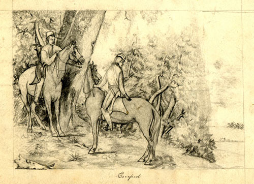 """2 pencil drawings. """"starting for a Hunt"""" with horseman jumping fence, etc & """"Escaped"""" with two horsemen. S. T. Fontaine."""