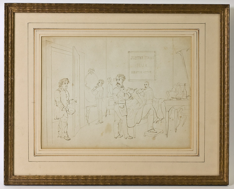 """""""What no soup?"""" Original pen and ink drawing of a Civil War soldier walking into a barber shop where two men are getting a lathering for a shave, and a third is tying his cravat in front of a mirror; behind the barbers is a sign that reads """"Jupiter Tonans Hair Restorative"""". Unsigned, but in the style of Darley. F. O. C. Darley."""
