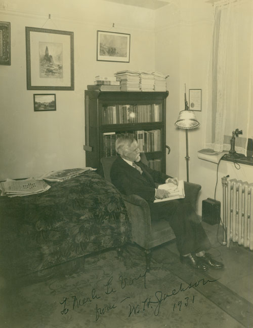"""Fine black and white photograph of William H. Jackson, famed Western artist, inscribed """"To Merle Le Voy from W.H. Jackson 1931"""" W. H. Jackson, Merle Le Voy."""