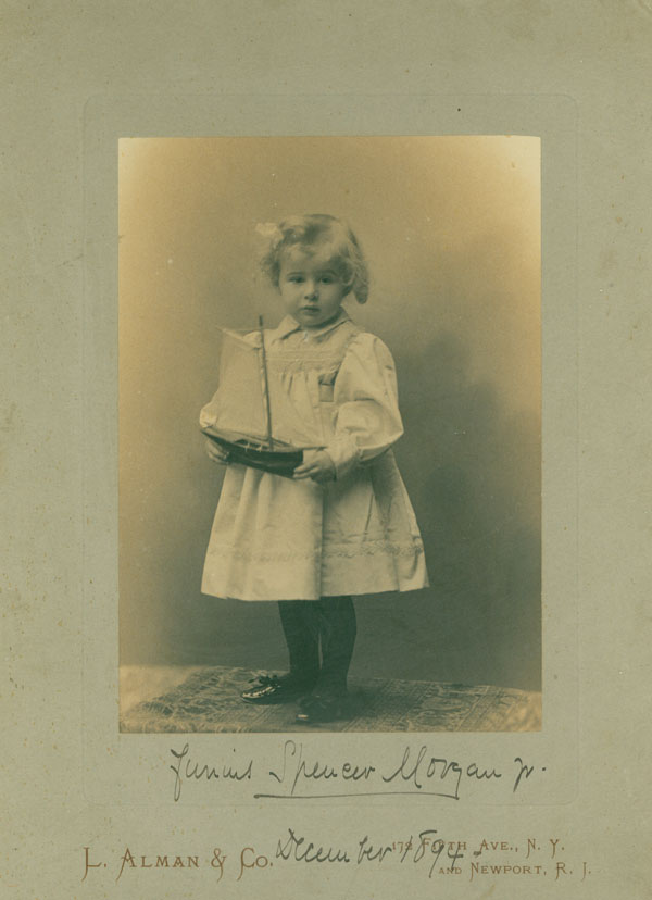Two Portrait photographs of Junius Spencer Morgan, Jr., as toddler and child, dated December 1894 and August 1898. Junius Spencer Morgan, Jr.