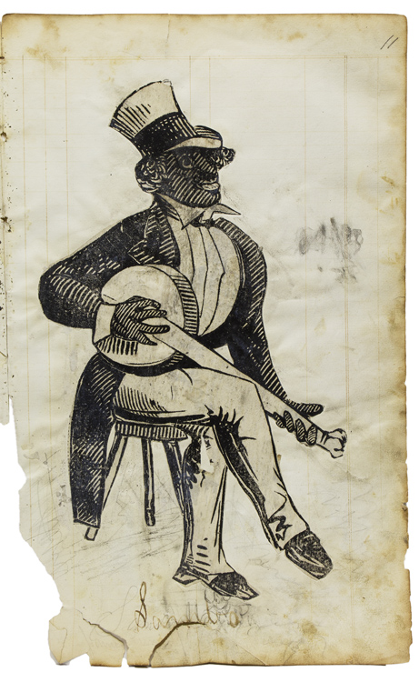 "Nineteenth Century Naive album of Black and Baseball Interest with a Label 'specimens of Drawing by James Pirnie No. 6 Joralemon Street, Brooklyn, L. Island New York State United States of America Western Hemisphere"" Baseball."