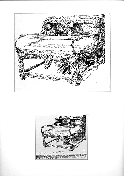 29 Original Ink and Pencil Drawings for Apicius: Cookery and Dining in Ancient Rome. A Bibliography, Critical Review and Translation. Depicting Ancient Stoves, Cooking Utensils, Interiors, Serving Dishes, etc. Gastronomy, Joseph D. Vehling.
