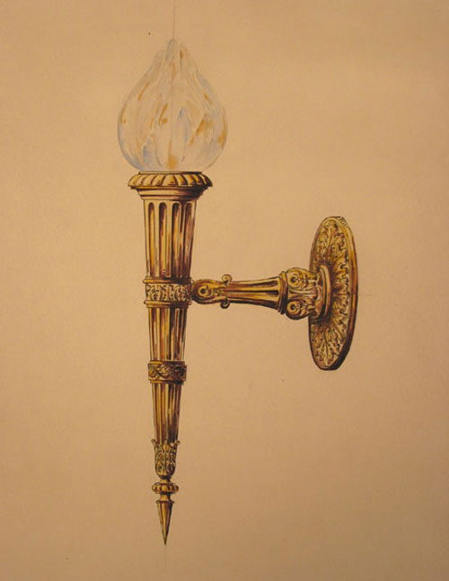 Original pencil and watercolor design for ornamental brass wall lighting fixture. George R. Benda.
