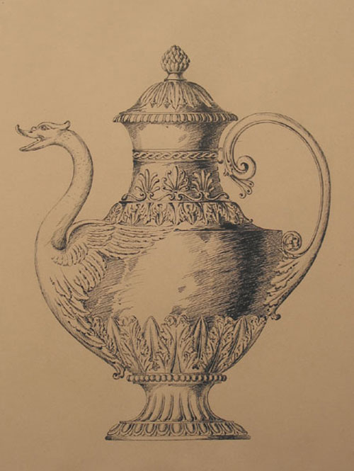 Original pen design for elaborate tea pot with the head of swan as spout. George R. Benda.