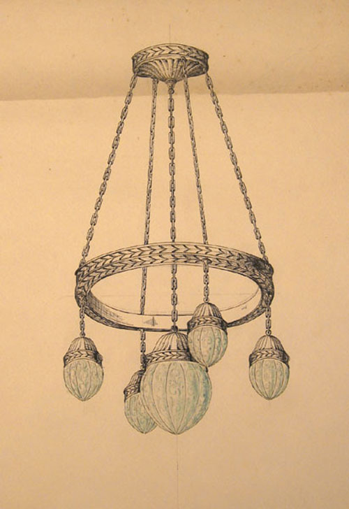 Original pen and blue watercolor design for five light ceiling lighting fixture. George R. Benda.