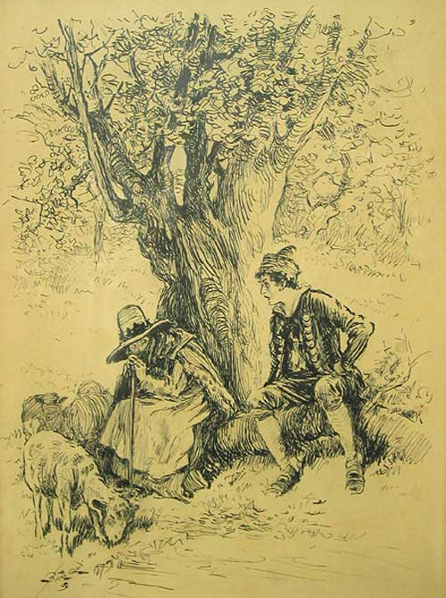 Pen and Ink Drawing depicting a shepherdess and young man in period costume under a tree, with sheep grazing around. Reginald Bathhurst Birch, British.