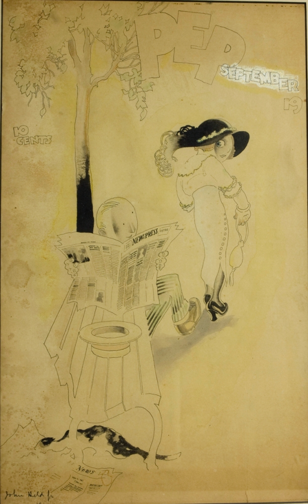 """Pen and ink drawing heightened with watercolor of a man reading a newspaper (""""New Press"""") on a park bench with big eyed woman in an over-sized hat peering back at him over her shoulder. John Held, Jr."""