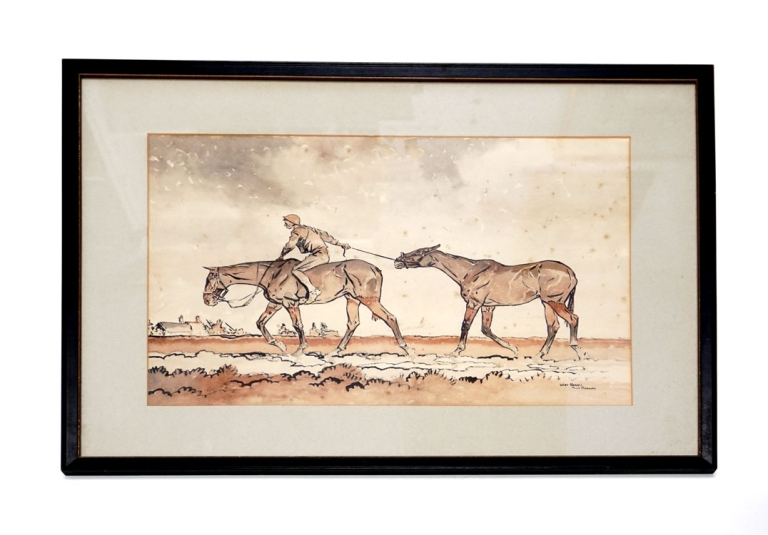 "Watercolor on paper, enhanced by crayon, titled ""War Horses"" Paul Brown."