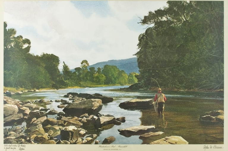 """""""Hendrickson's Pool, Beaverkill,"""" depicting a trout fisherman standing in a river. Ogden M. Pleissner."""