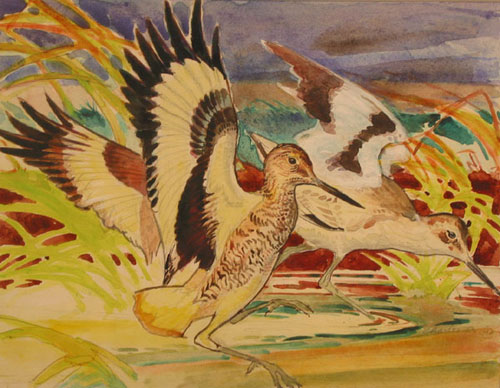 Watercolor on paper: Two Woodcock landing in a pond. Charles De Feo.