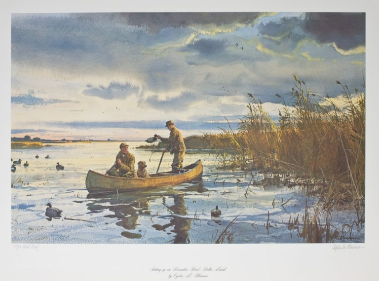 """""""Setting up on Horseshoe Pond - Delta Marsh,"""" print depicting two hunters with decoys in a boat. Ogden M. Pleissner."""
