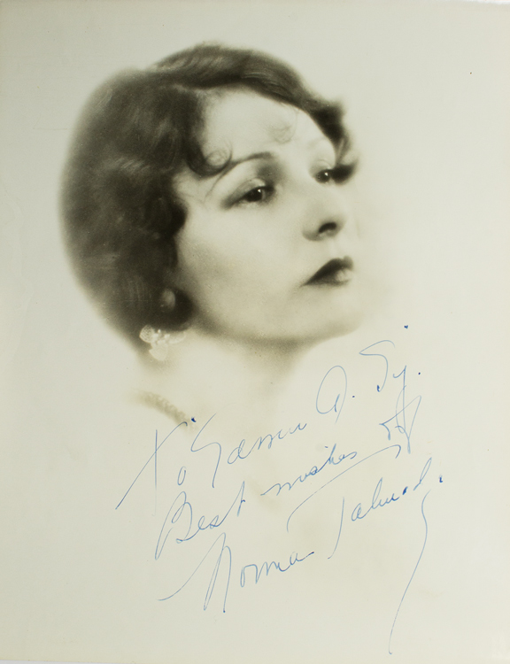Photograph signed, bust portrait in half-profile. Norma Talmadge.