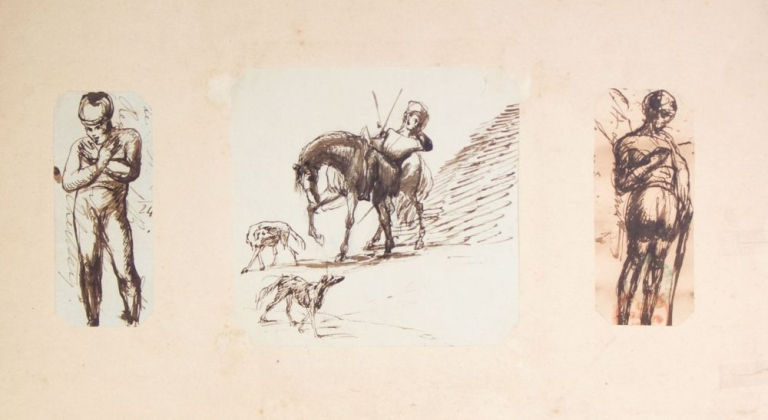 Artist's Scrapbook, containing appproximately 215 mounted pen and ink drawings, primarily of fox hunters, horses, hounds, foxes, and hunting scenes. Fox Hunting, The Rev. H. L. Bennet.