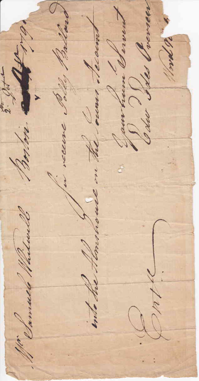 """Autograph Manuscript Order, Signed """"Edwd Edes Overseer"""" to Samuel Whitwell requesting that he """"receive Polly Ballard into the Almshouse on the Towns Account."""". Boston Almshouse, Edward Edes."""