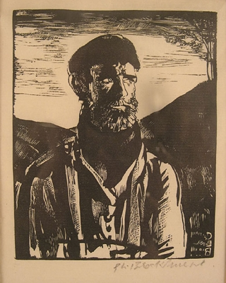 """A Mountain Man"", woodcut, signed lower right. Gerald Brockhurst"