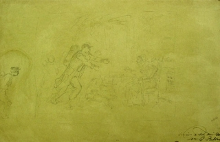 Pencil sketch: Depicting a soldier rushing into the arms of a seated woman. Joseph Louis Hippolyte Bellangé, French.