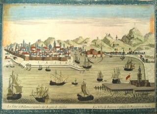 "Two hand-colored engravings depicting views of Palermo, entitled ""Prospetto della sponda del..."
