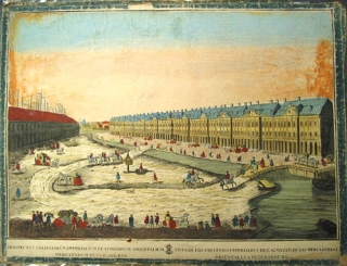 "Two hand-colored engravings depicting the city of Petersburg, entitled ""Prospectus Collegiorum..."