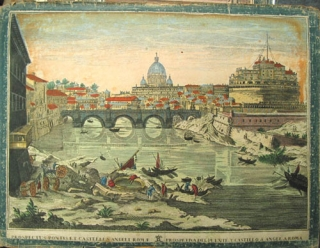 "Hand-colored engraving depicting the Castle Sant' Angelo in Rome, entitled ""Prospectus Pontis et Castilli S. Angeli Romae / Prospectiva del Puente y Castillo S. Angel a Roma"" Rome."