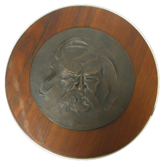 Bronze circular relief portrait of the head of SAMUEL L. CLEMENS. Samuel Langhorne Clemens, Barry...
