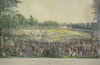 "Lithograph, colored: ""The Great International Caledonian Games / Held at Jones Woods, New-York..."