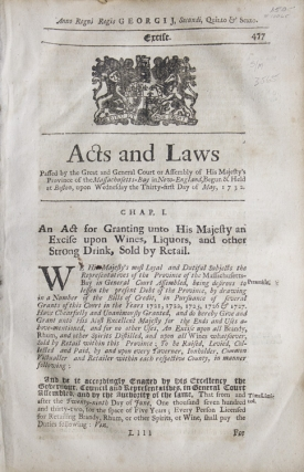 Acts and Laws ... An Act for Granting unto His Majesty an Excise upon Wines, Liquors, and other...